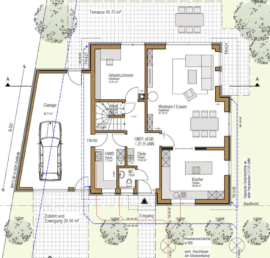 Grundriss EG, individuell, Holzhaus