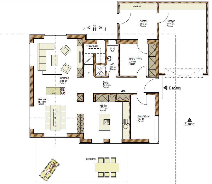 individuelles Holzhaus Grundriss EG