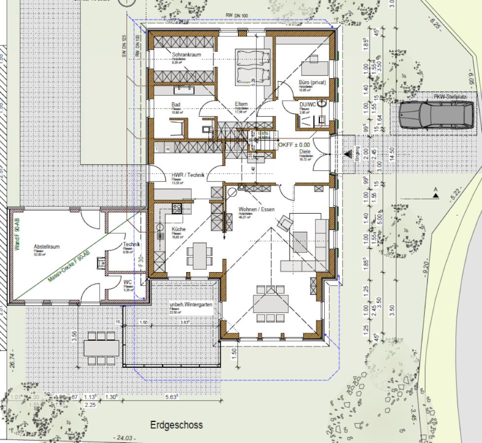 möglichst barrierefreies Holzhaus altersgerecht gebaut, Grundriss EG