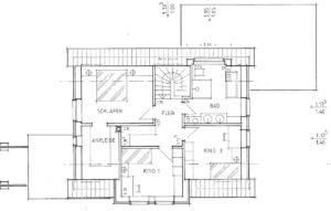 Holzhaus, Grundriss OG, Satteldach mit Zwerchgiebel