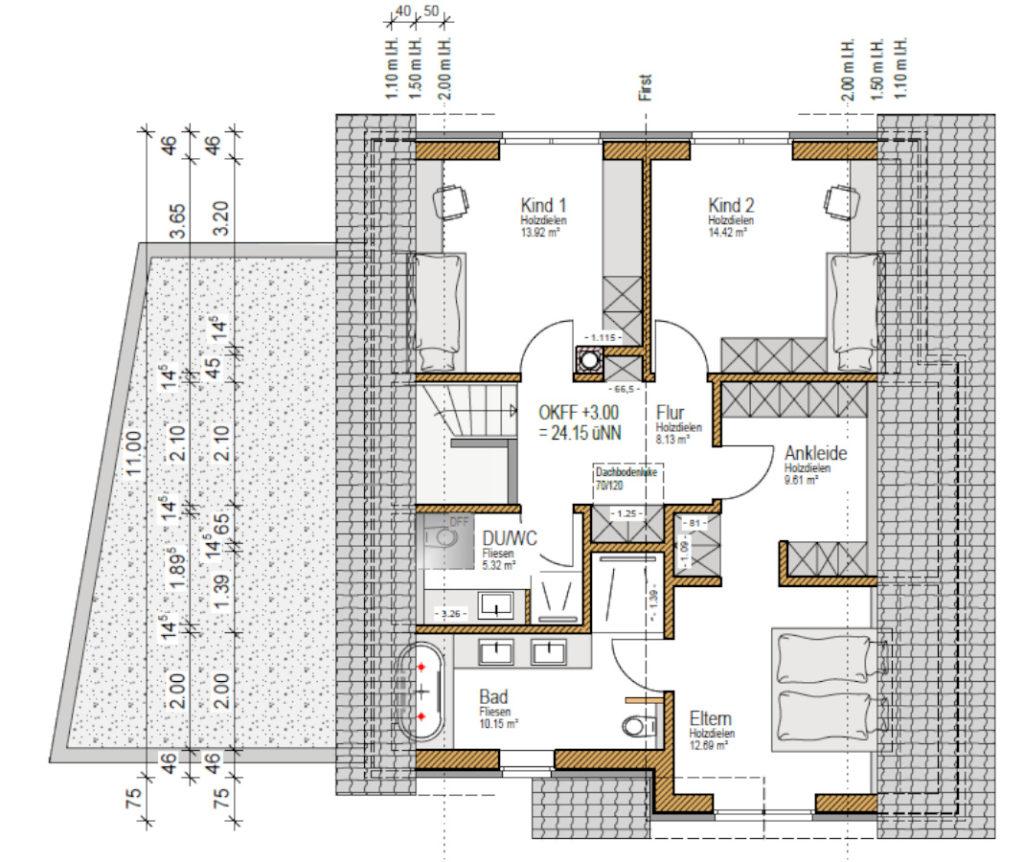 Grundriss OG, individuell, Holzhaus, Satteldach