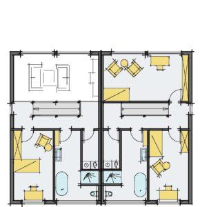 individuelles Holzhaus Doppelhaushälfte, Grundriss OG, Lichthof