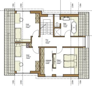 individuelles Holzhaus Grundriss OG