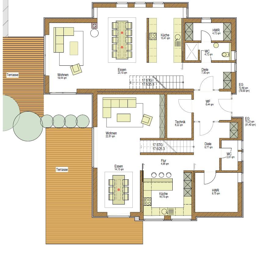 Grundriss EG, Wohnhaus als Holzhaus, Mehrgenerationenhaus Pultdach, Putzfassade, Holzfassade