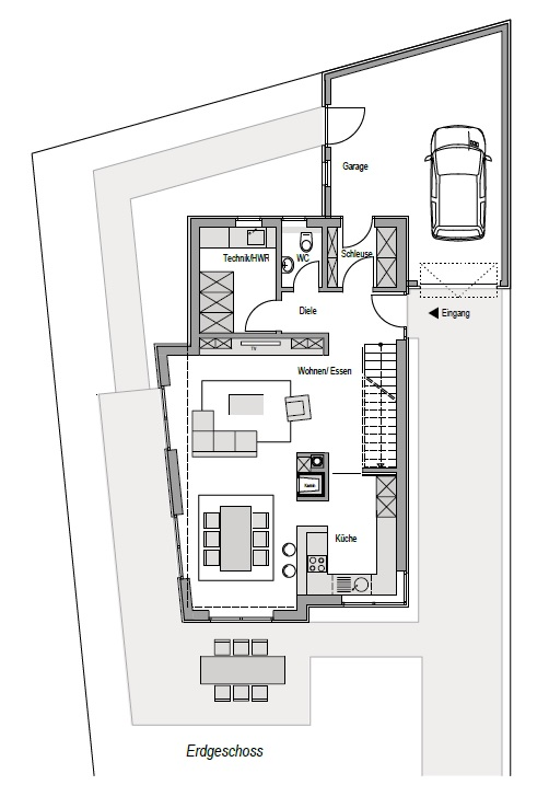 Wohnhaus in Holzbauweise, 2-geschossig, Grundriss EG