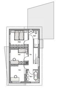 Wohnhaus in Holzbauweise, 2-geschossig, Grundriss OG