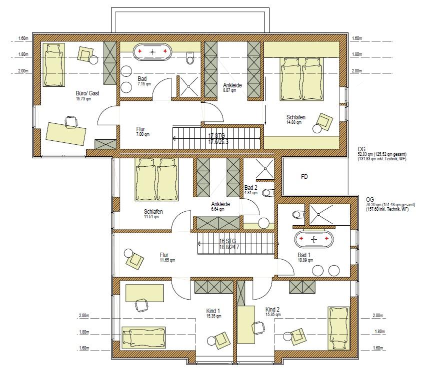 Grundriss OG, Wohnhaus als Holzhaus, Mehrgenerationenhaus Pultdach, Putzfassade, Holzfassade