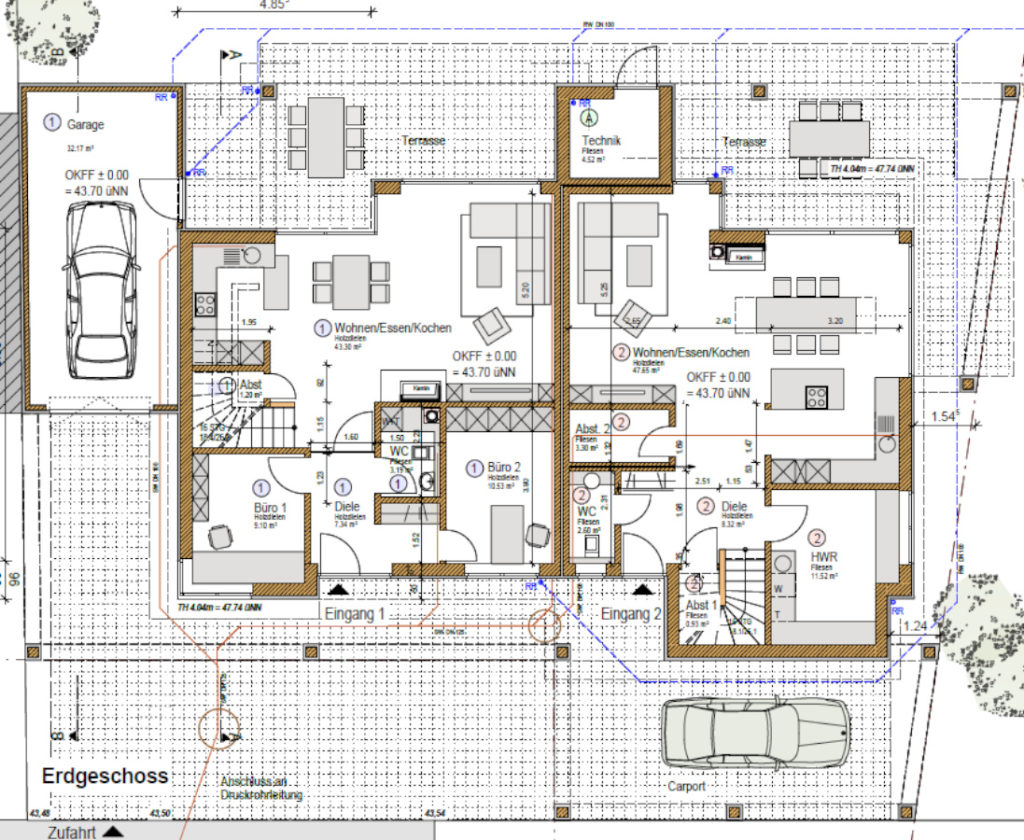 individuelles Fertighaus als Doppelhaus, Grundriss EG