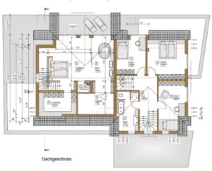 individuelles Fertighaus als Doppelhaus mit Satteldach, Grundriss OG