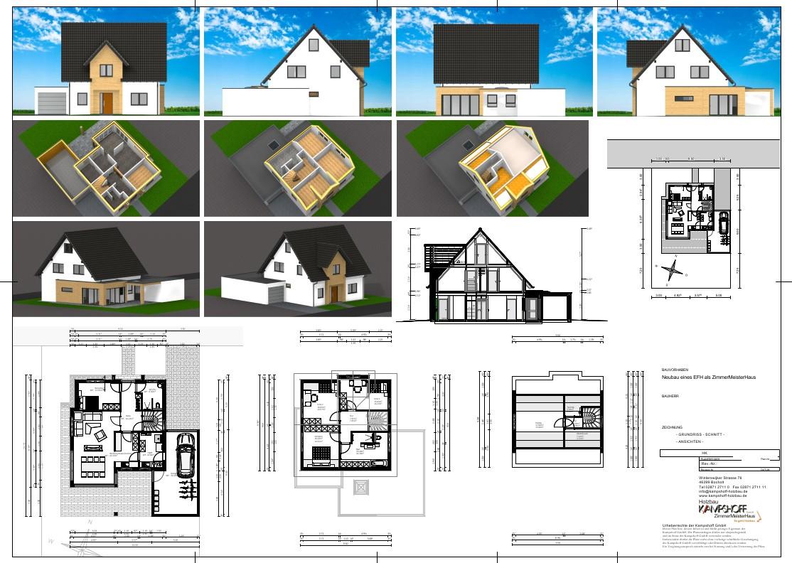 Entwurfsplan von Kampshoff Holzhausbau für ein Eunfamilienwohnhaus